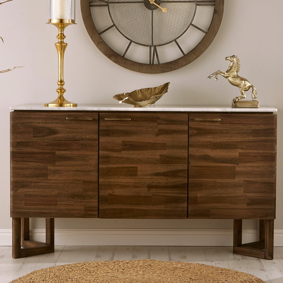 Varde Cool Brown Acacia Wood & Marble Sideboard
