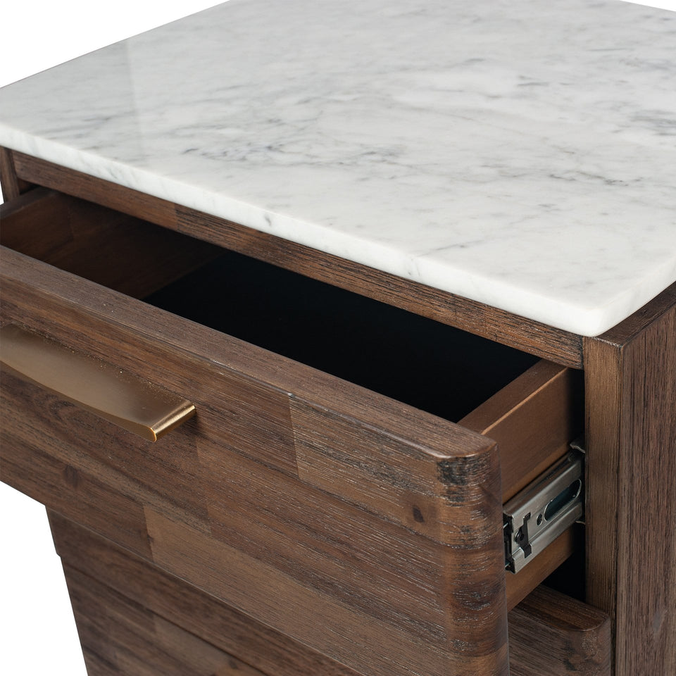 Varde Cool Brown Acacia Wood & Marble Bedside Unit