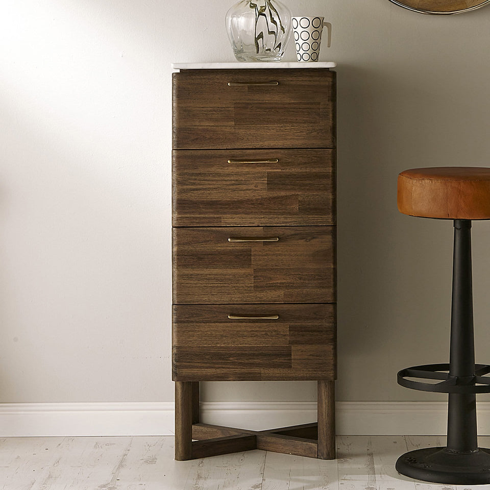 Varde Cool Brown Acacia Wood & Marble Tall Boy