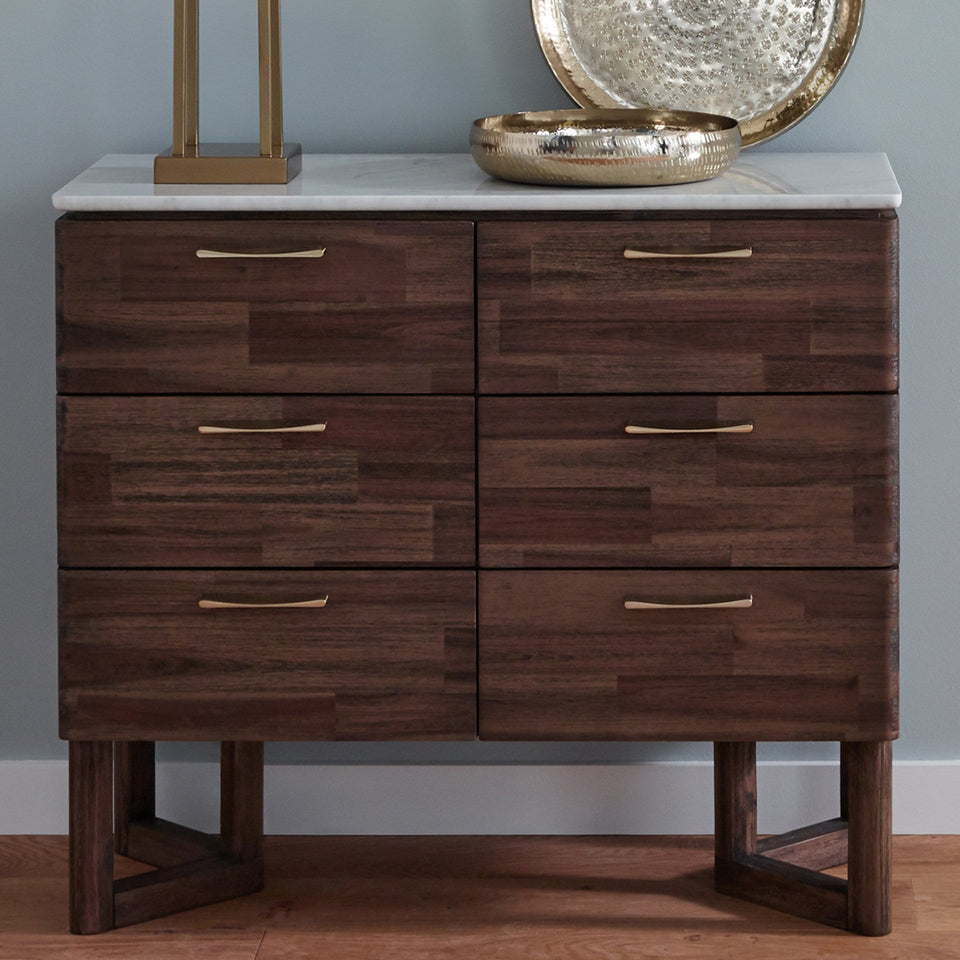 Varde Cool Brown Acacia Wood & Marble 6 Drawer Unit