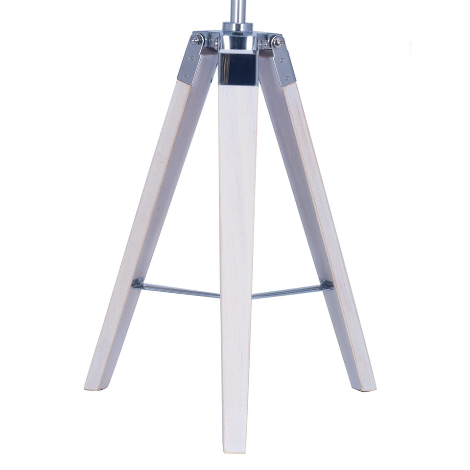 Bamburgh White Wash Wood & Silver Metal Tripod Table Lamp