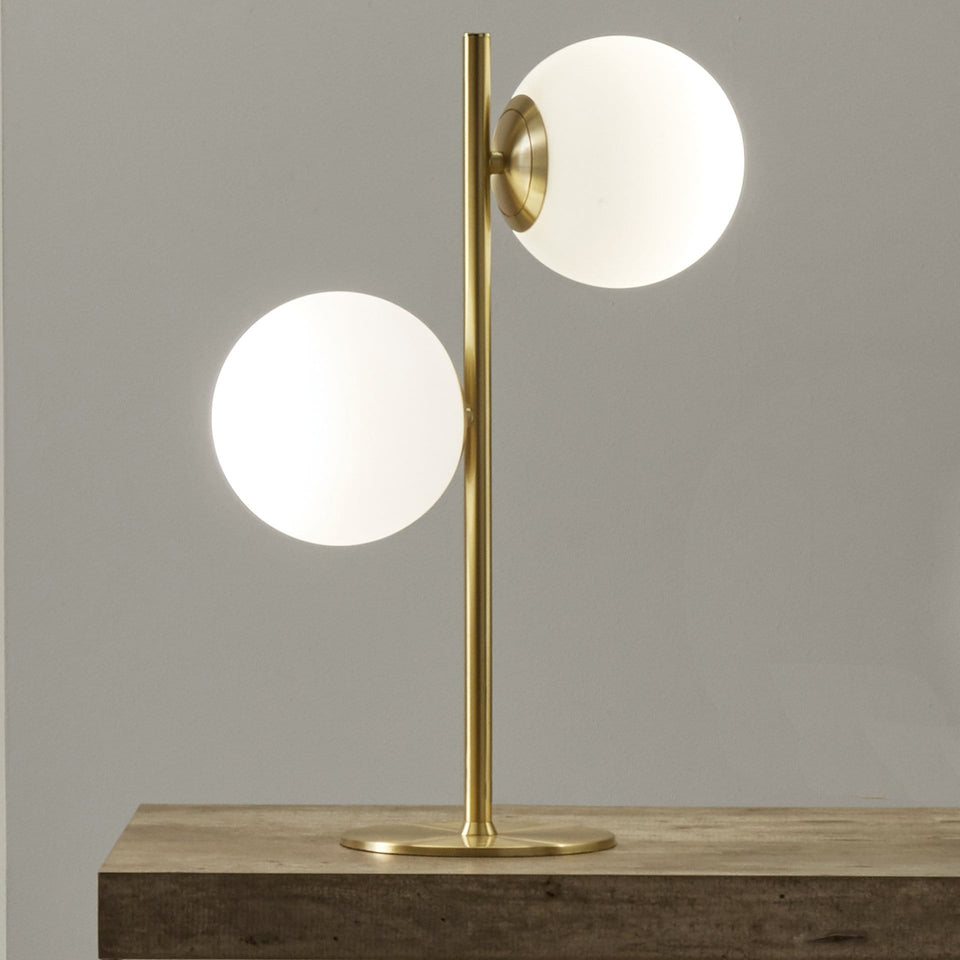Pegasus White Orb and Gold Metal Table Lamp