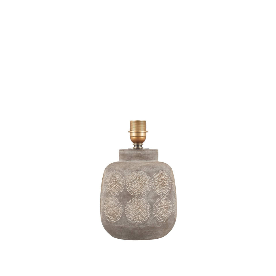 Guelder Matt Grey Embossed Stoneware Table Lamp