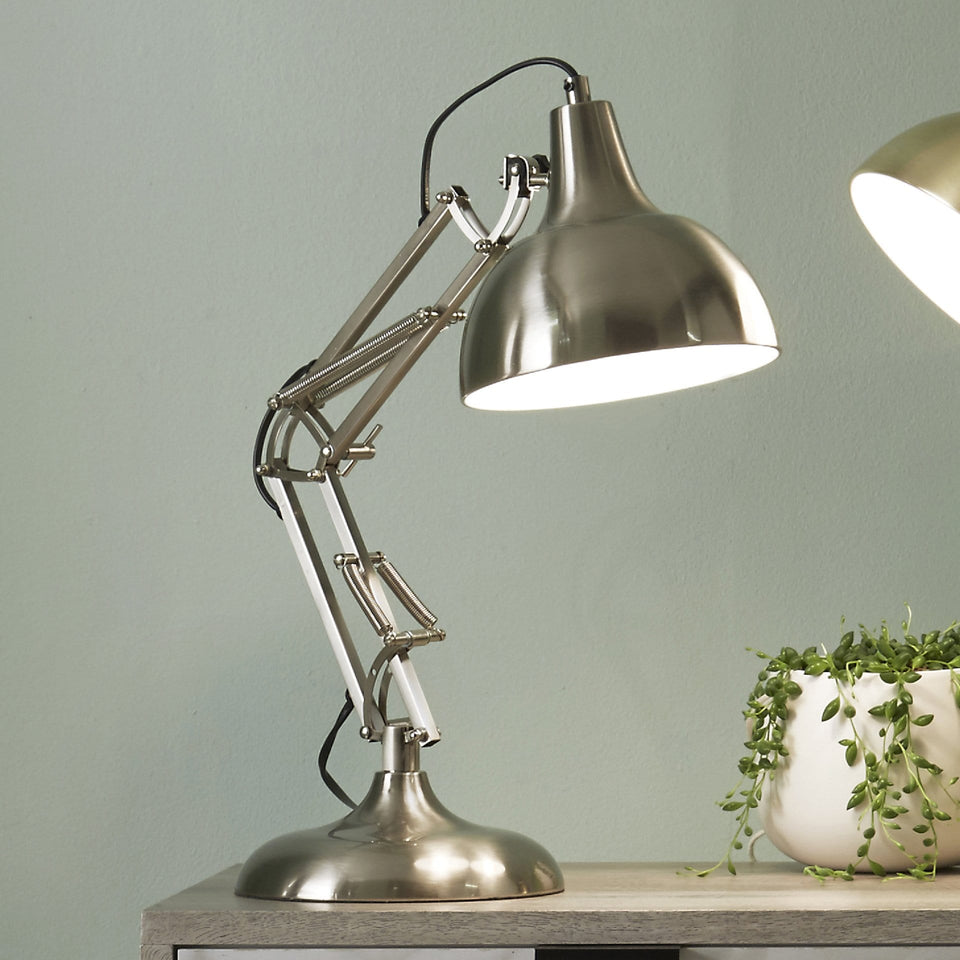 Alfredo Brushed Chrome Metal Task Table Lamp