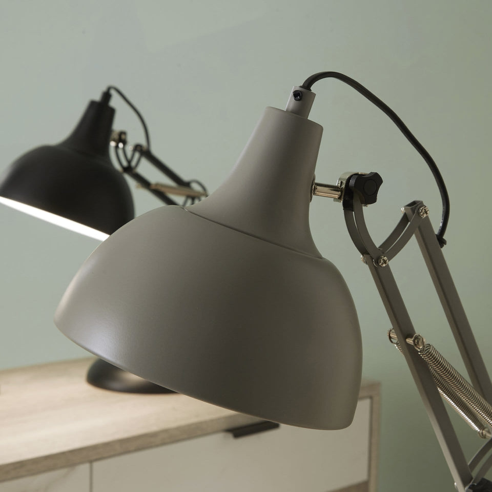 Alfredo Grey Metal Task Table Lamp
