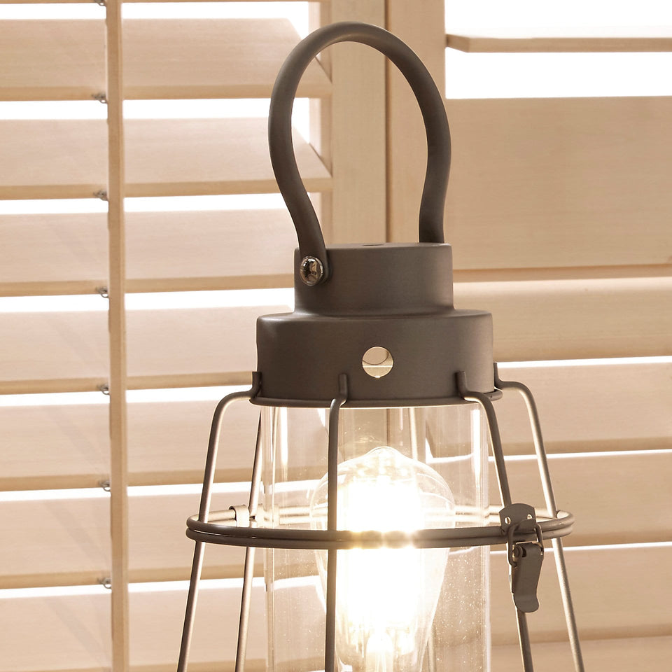 Maryport Grey Metal and Clear Glass Oil Lantern Table Lamp
