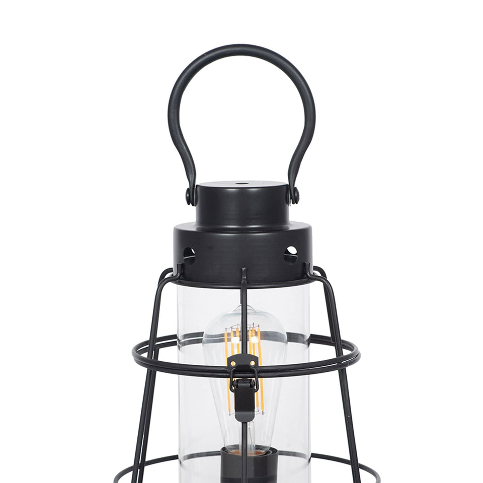 Maryport Black Metal and Clear Glass Oil Lantern Table Lamp