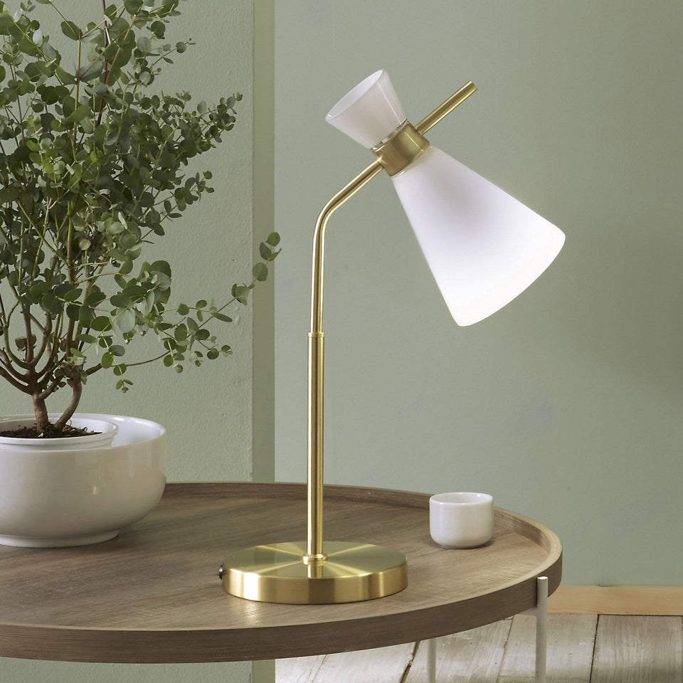 Bardot White Glass and Gold Metal Waisted Table Lamp