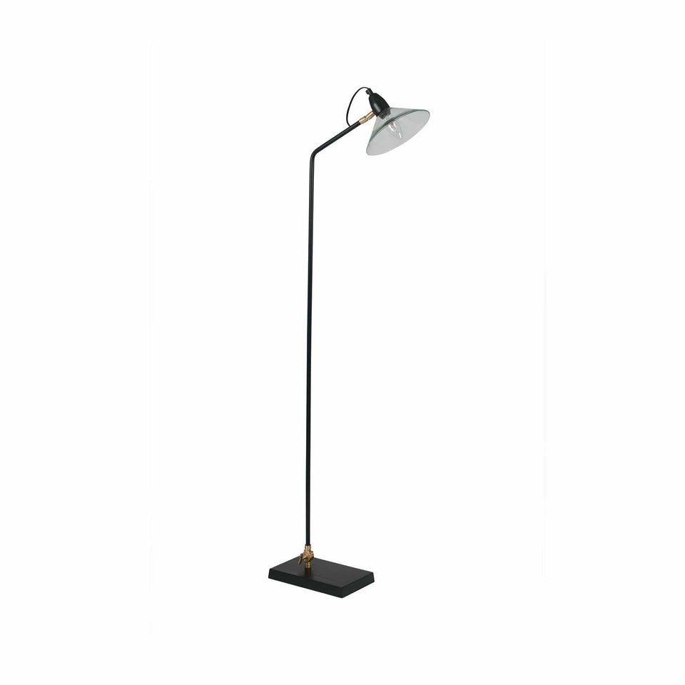 Dalian Glass, Black Metal & Brass Task Floor Lamp