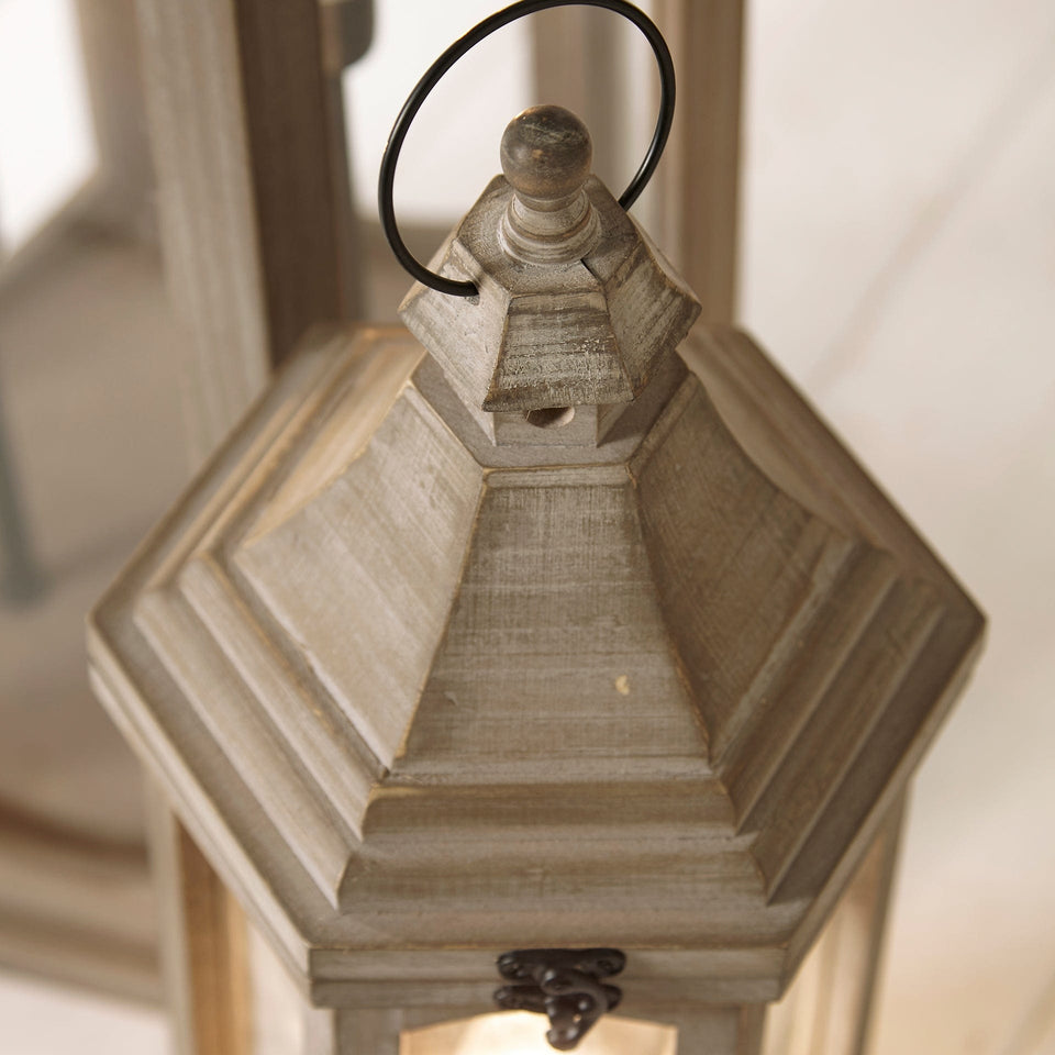 Salcombe Antique Grey Wood Lantern Floor Lamp