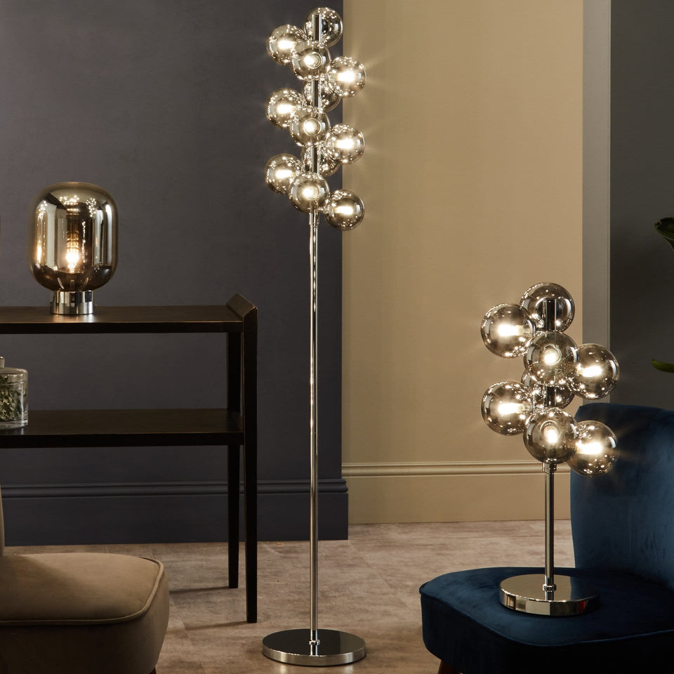 Arbus  Smoke Glass Ball & Chrome Floor Lamp