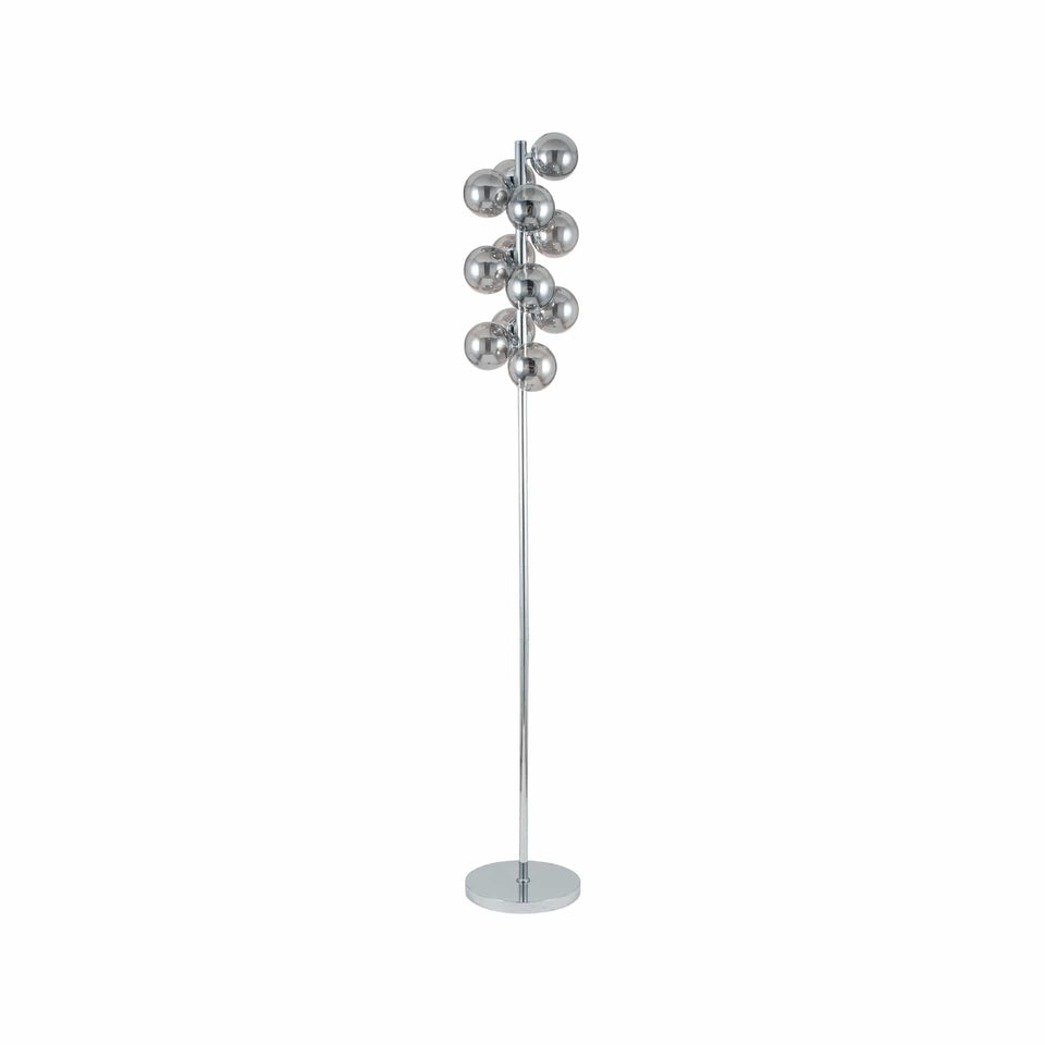 Arbus  Smoke Glass Ball and Chrome Floor Lamp