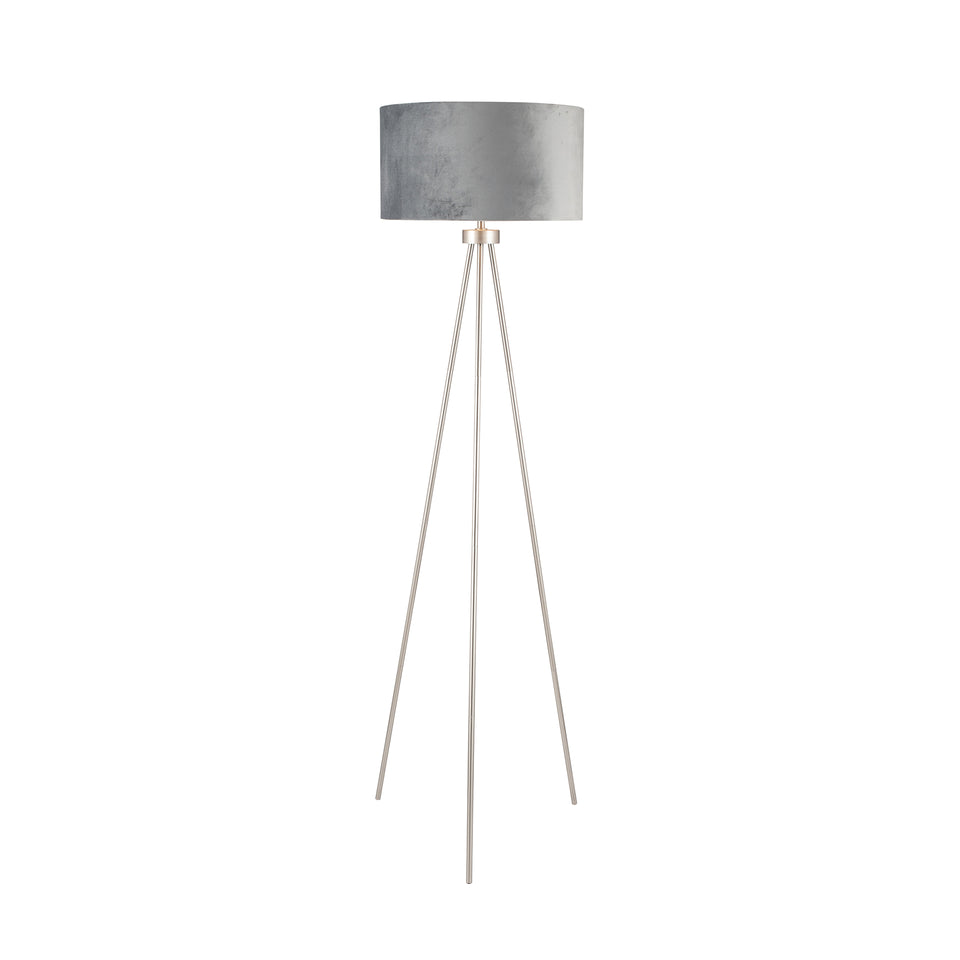 Vitti Brushed Silver Tripod Floor Lamp