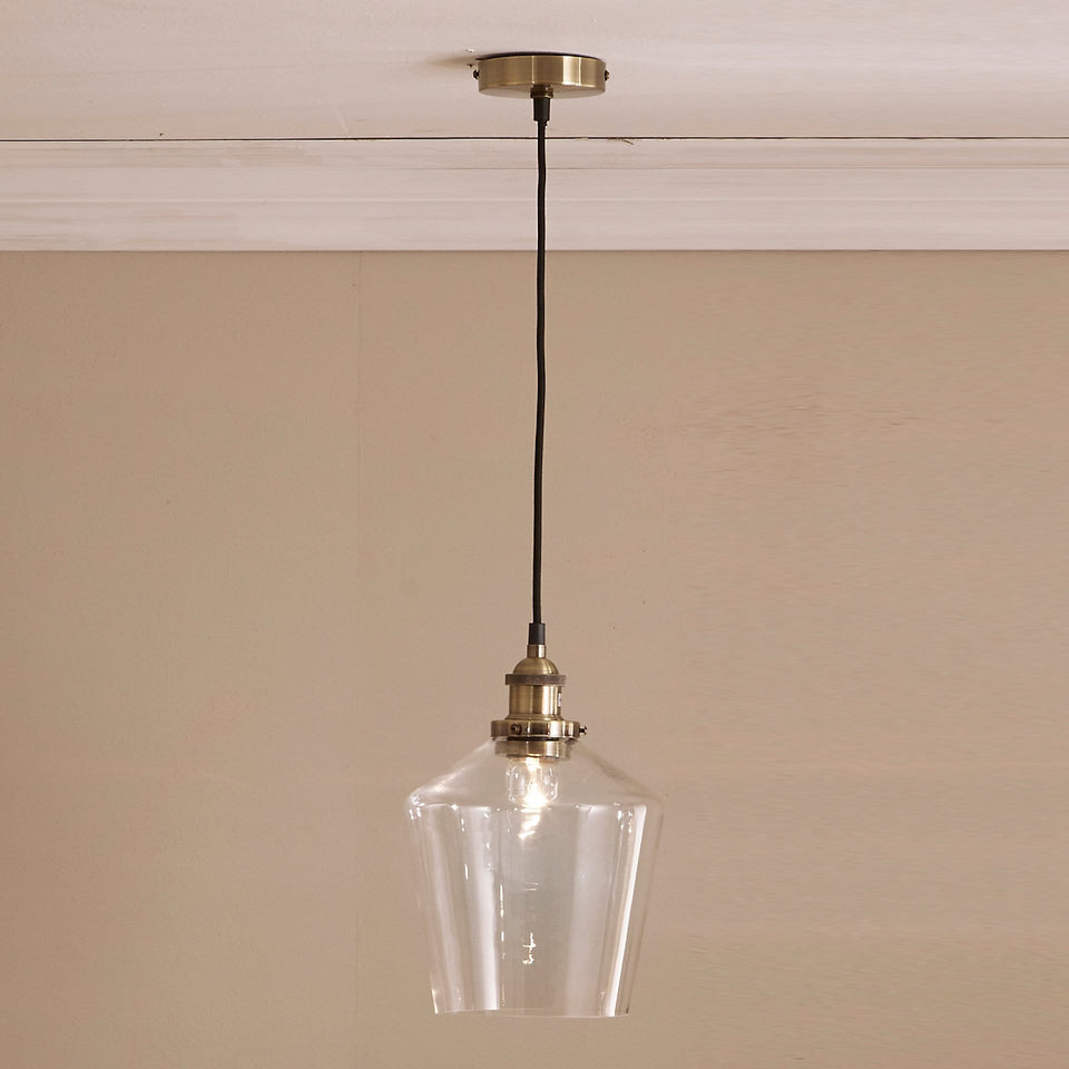 Elle Antique Brass and Clear Glass Pendant