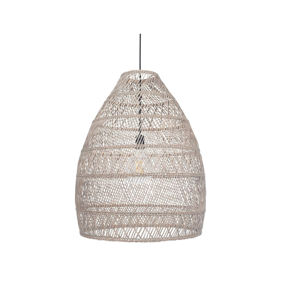 Tarawa Grey Wash Woven Cloche Pendant