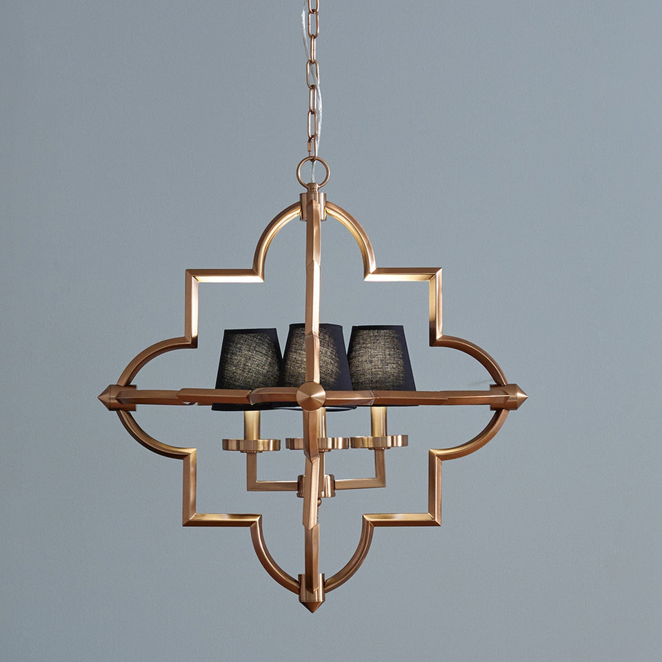 Loren Antique Brass Metal Four Shade Pendant