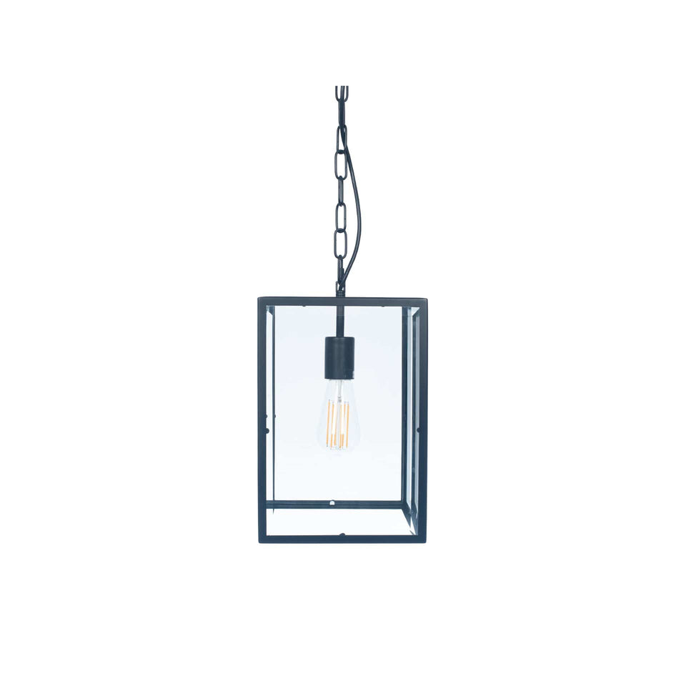 Harpenden Matt Black Metal & Glass Pendant