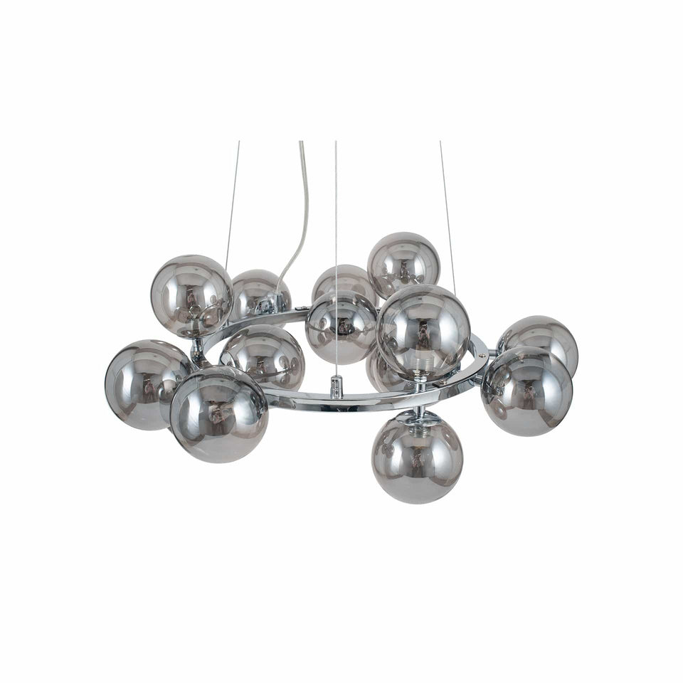 Arbus  Smoke Glass Ball and Chrome Metal Pendant