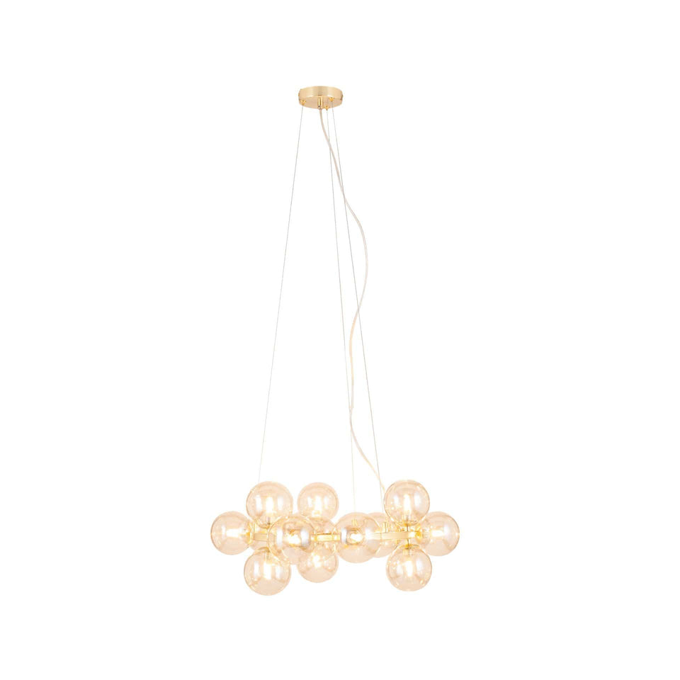 Arbus  Lustre Glass Ball and Gold Metal Pendant
