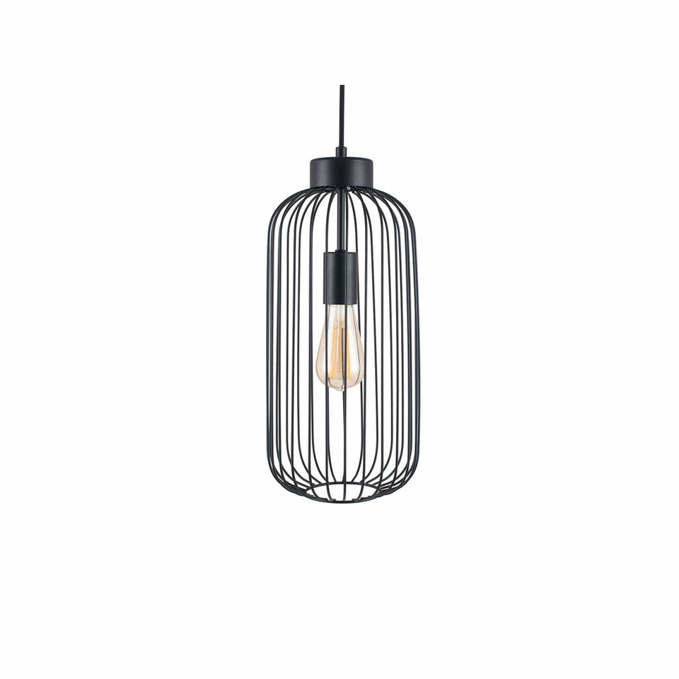 Anneka Matt Black Metal Wire Tall Pendant