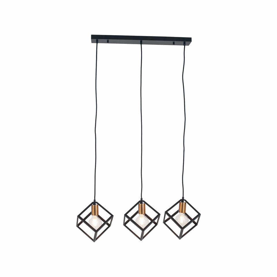 Abelli  Matt Black Metal Three Cube Pendant