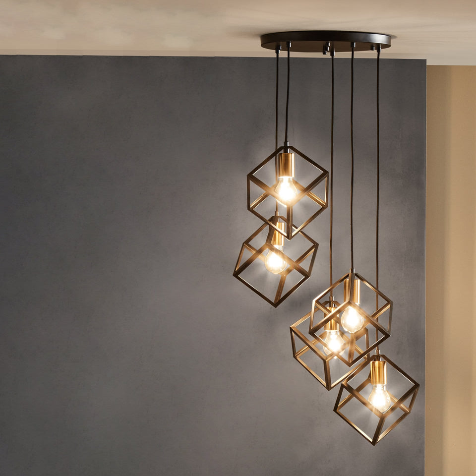 Abelli  Matt Black Metal Five Cube Pendant