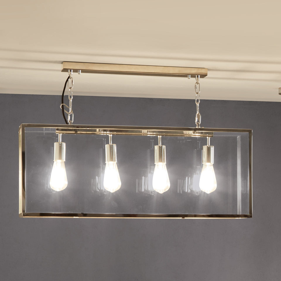 Harpenden Silver Metal & Glass Four Bulb Pendant Light