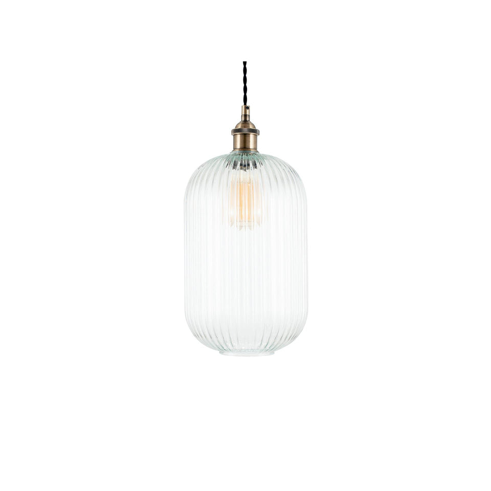 Lily Clear Ribbed Glass Tall Pendant
