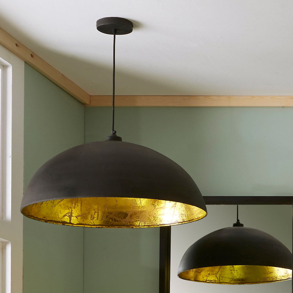 Palmero Matt Black and Gold Leaf Dome Pendant