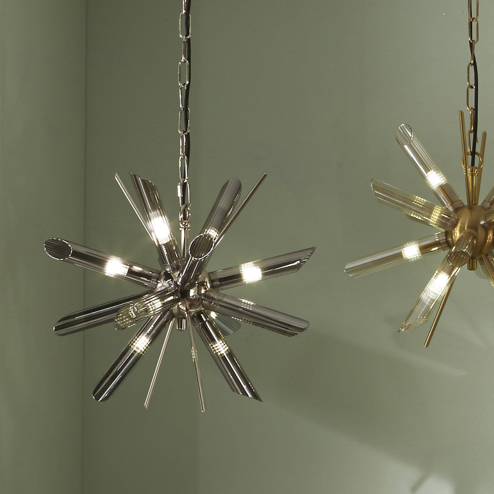 Aurelia Smoke Glass & Silver Starburst Pendant Light