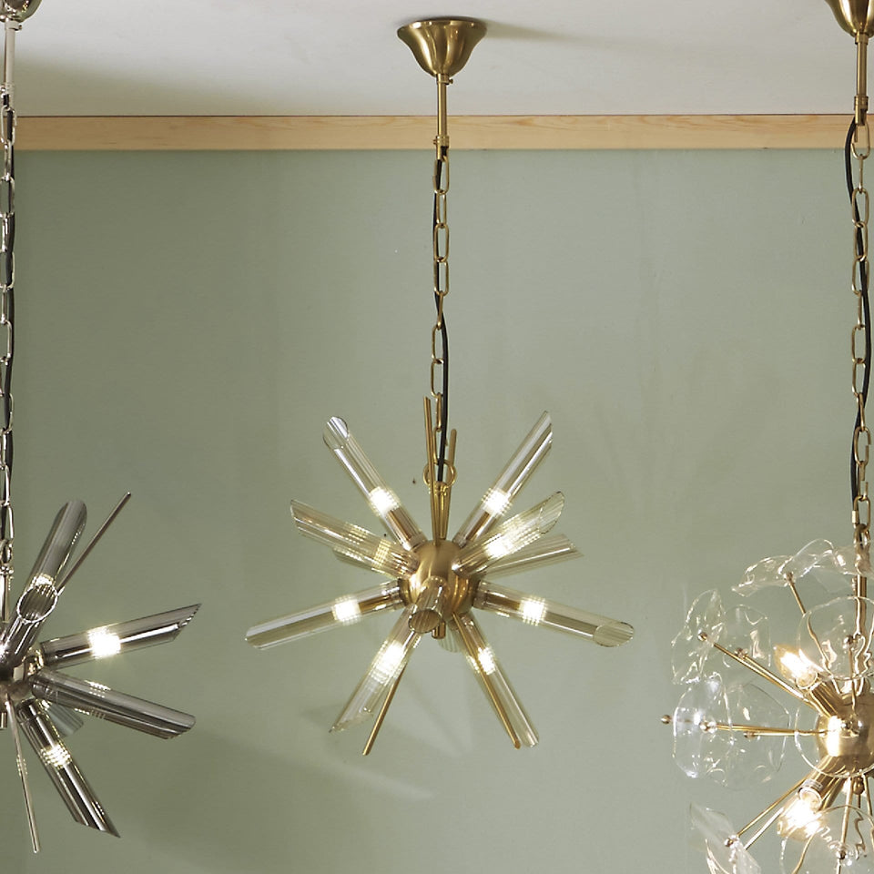 Aurelia Clear Glass & Gold Starburst Pendant Light
