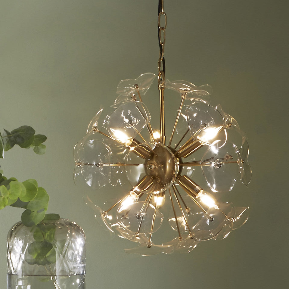 Glisse Clear Glass & Gold Round Organic Pendant Light