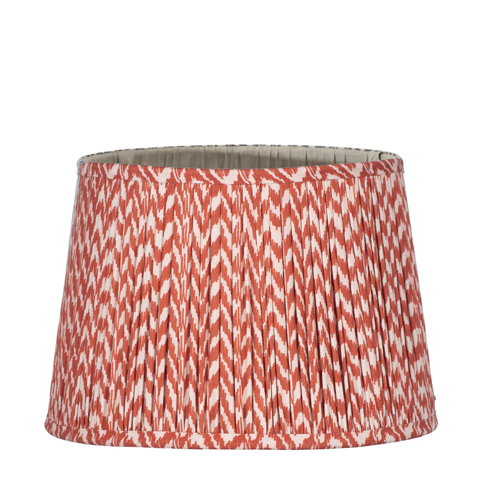 Catania Red Ikat Hand Pleated Cotton Tapered Cylinder Shade