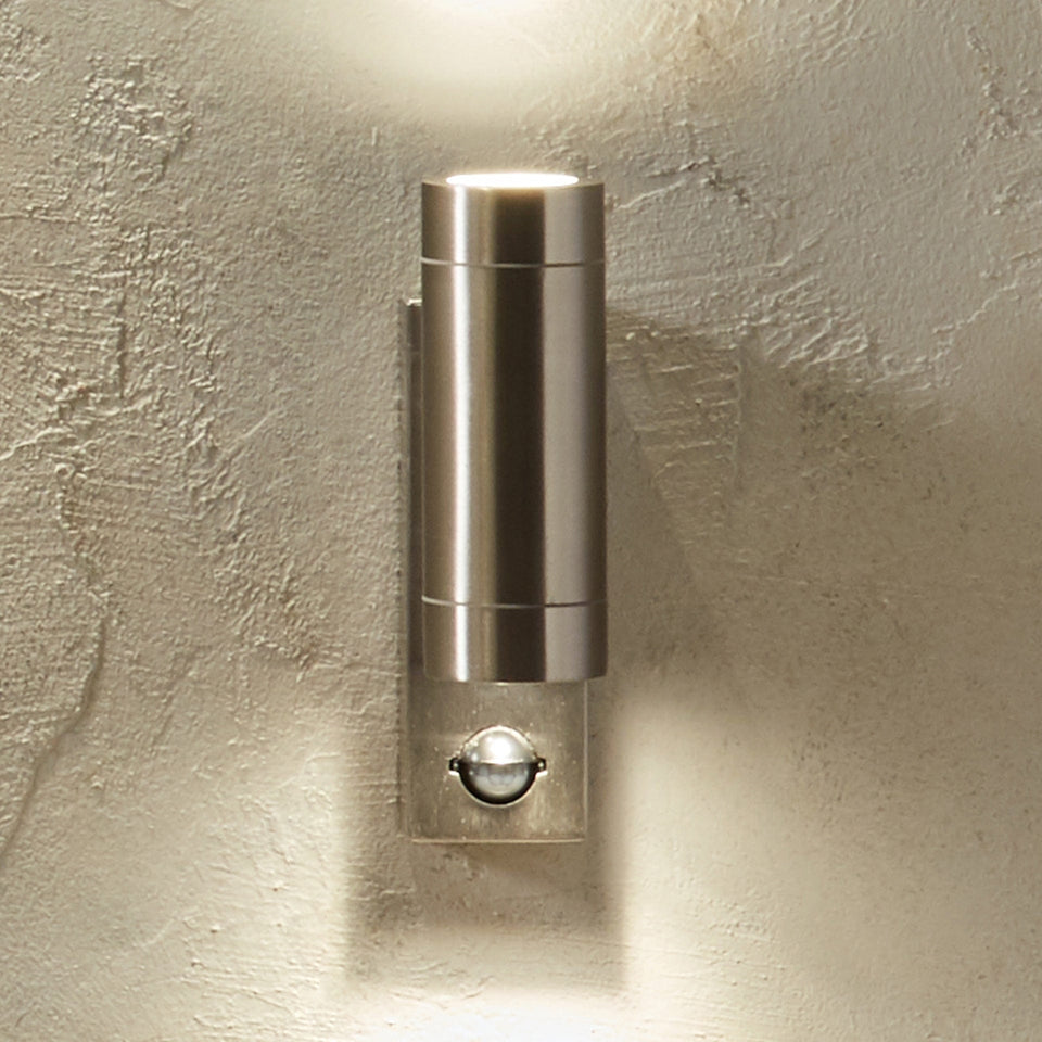 Olsson Brushed Silver Metal Dual PIR Wall Light