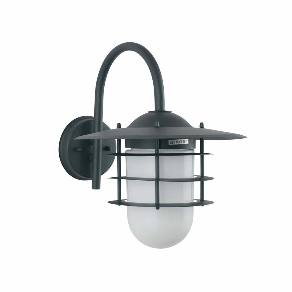 Ericsson Dark Grey & Opaque Glass Wall Light