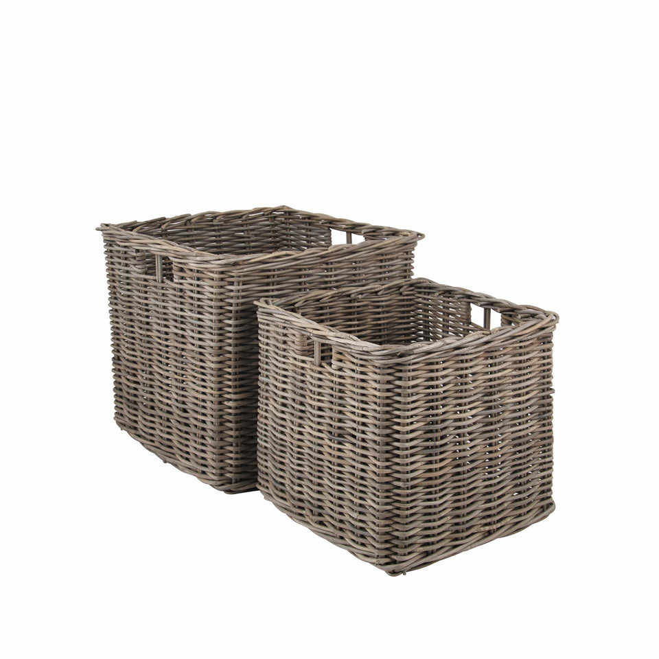Medan Grey Kubu S/2 Large Square Baskets