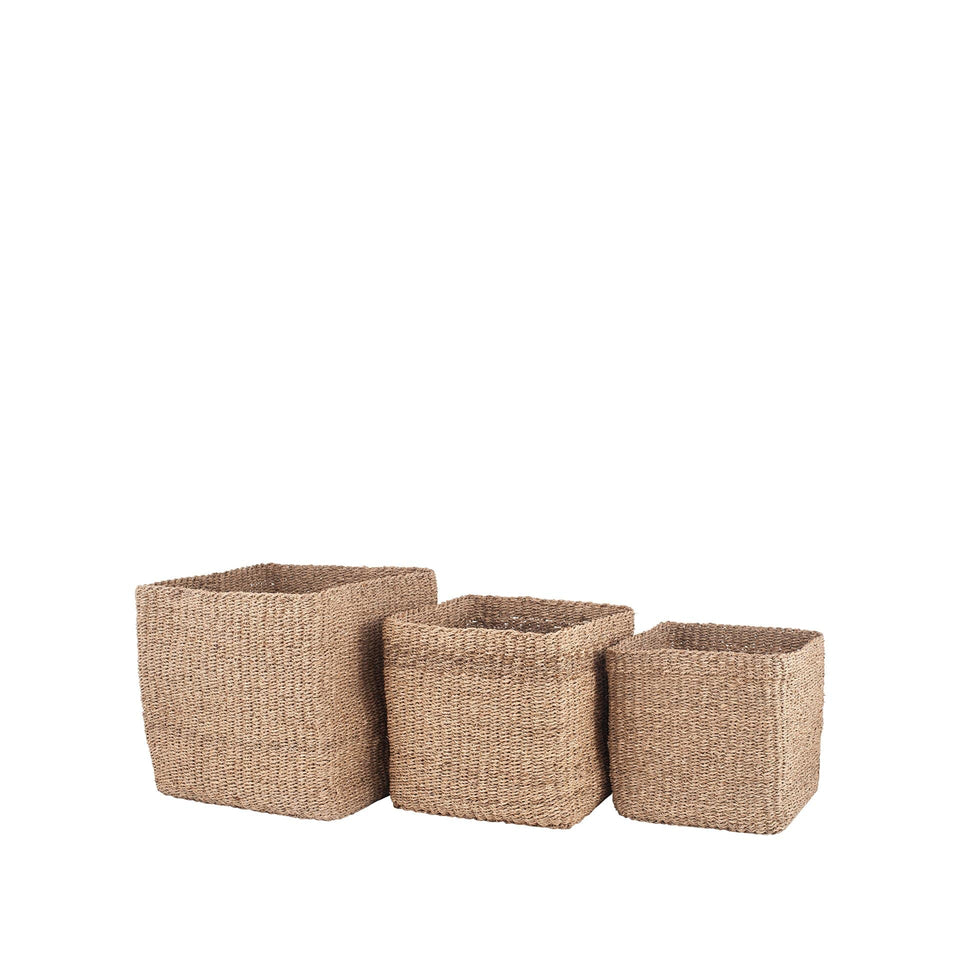 Bali S/3 Woven Natural Seagrass Cube Baskets