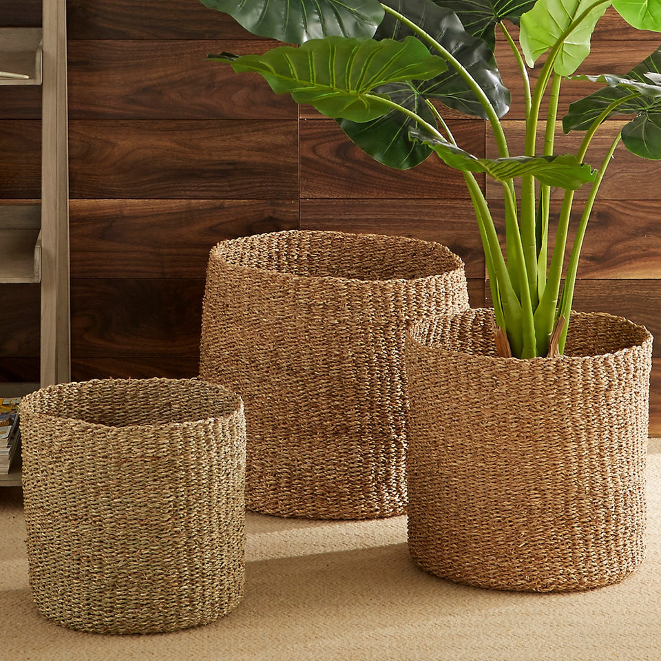 Iona S/3 Woven Natural Seagrass Round Baskets