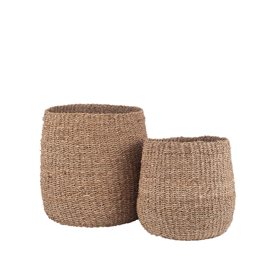 Bekasi S/2 Woven Natural Seagrass Tapered Baskets