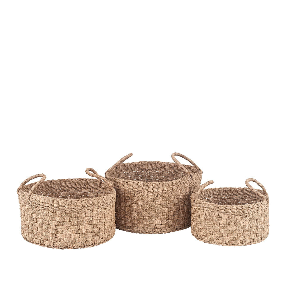 Haikou S/3 Woven Natural Seagrass Round Baskets