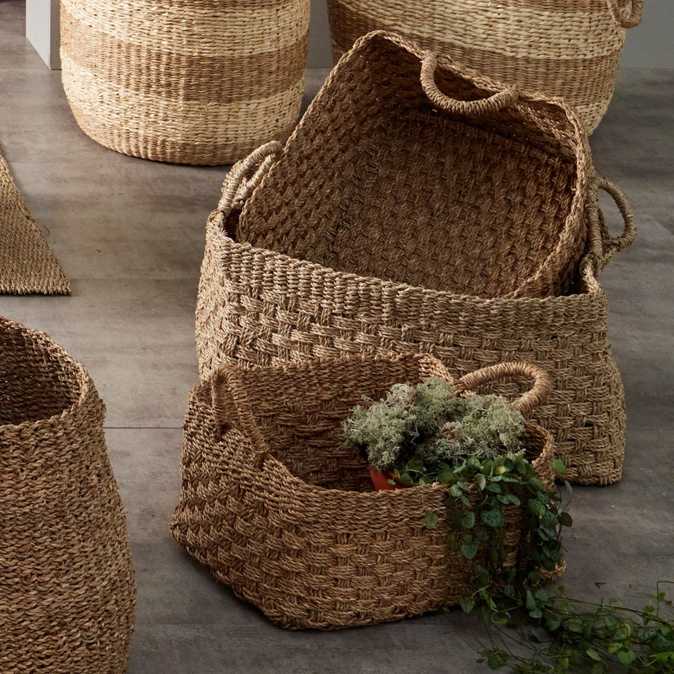 Bekasi S/3 Woven Natural Seagrass Oblong Baskets