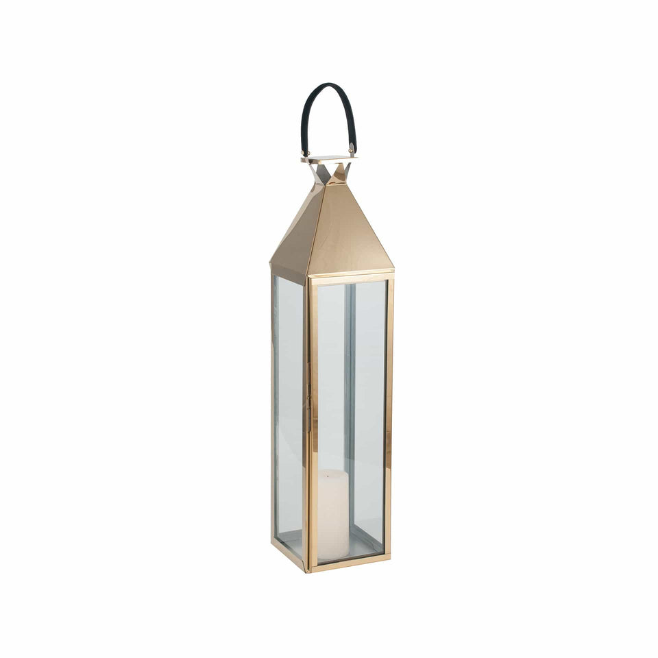 Briar Shiny Gold Stainless Steel & Glass Large Lantern