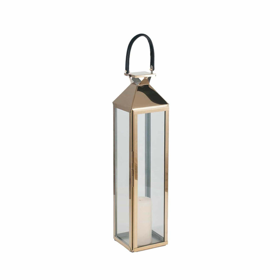 Briar Shiny Gold Stainless Steel & Glass Medium Lantern