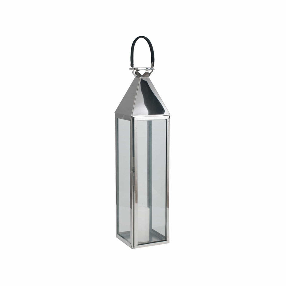 Briar Shiny Silver Large Glass & Stainless Steel Lantern