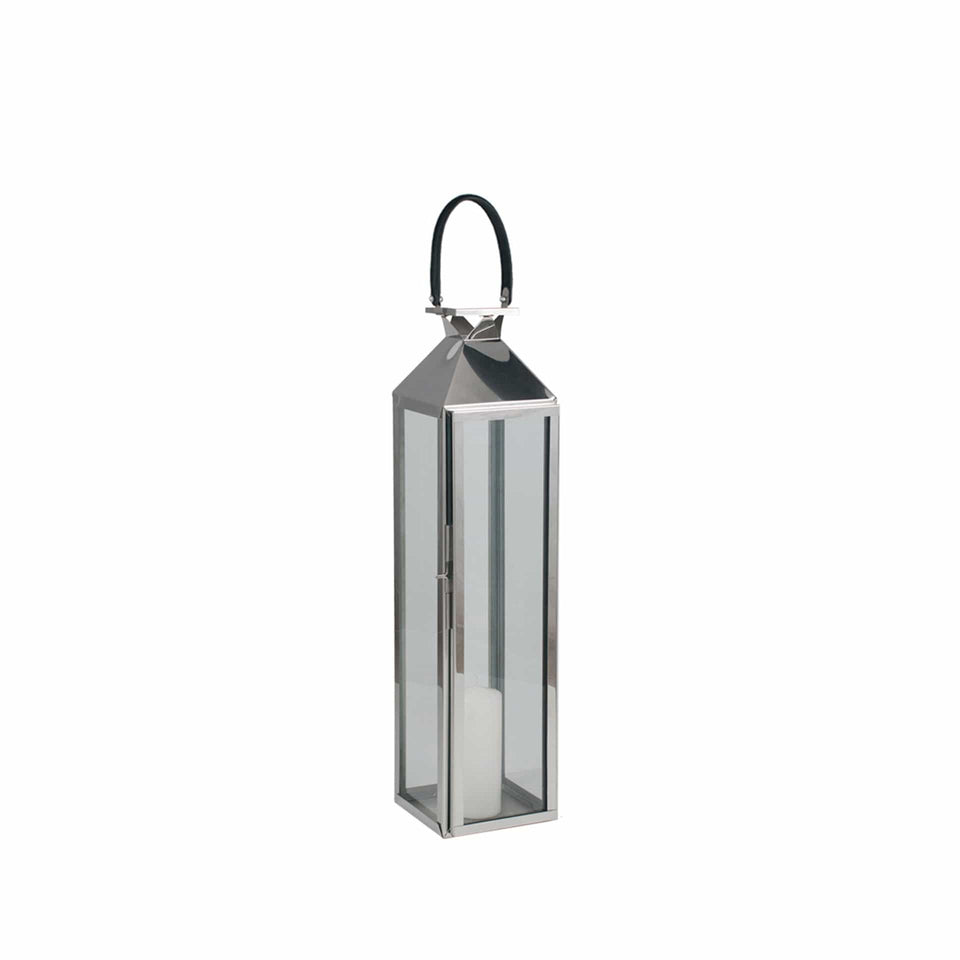 Briar Shiny Silver Stainless Steel & Glass Medium Lantern