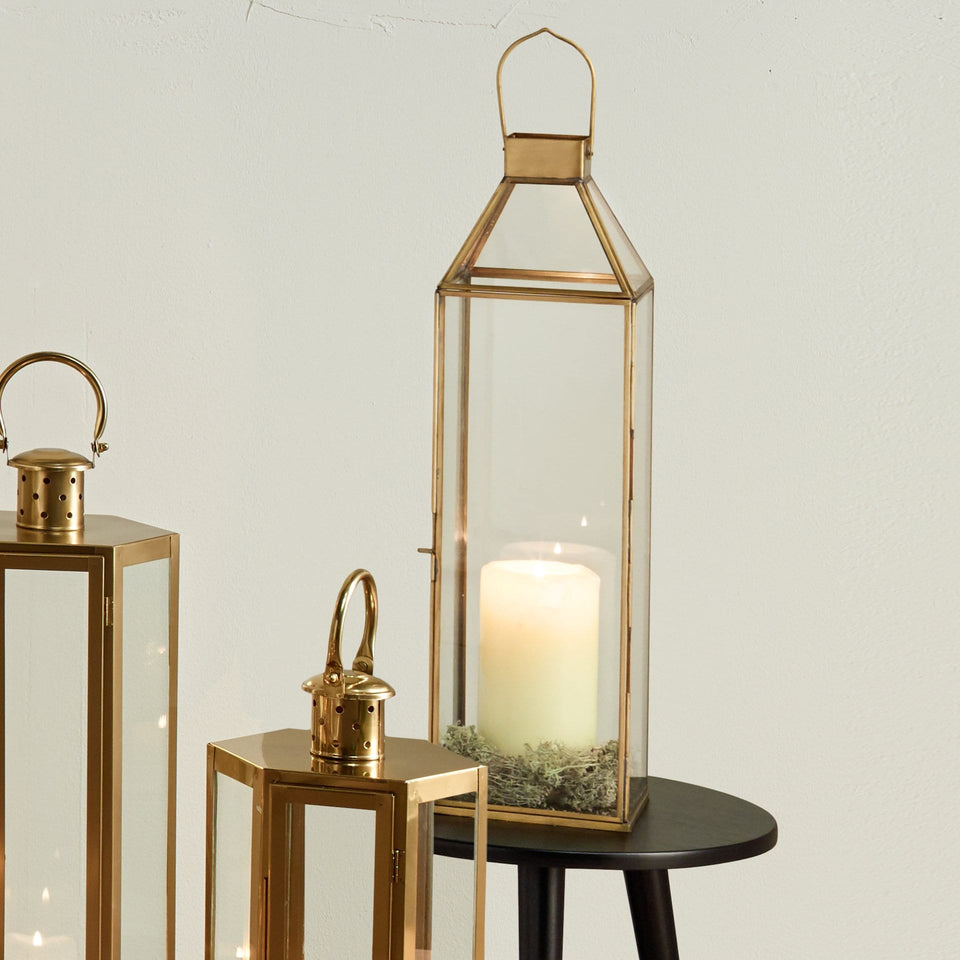 Angelica Shiny Brass Metal & Glass Square Lantern Large