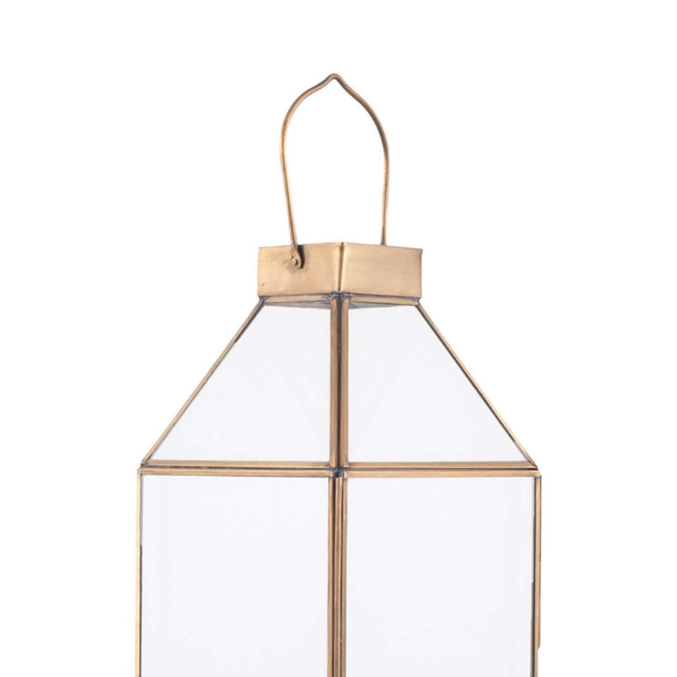 Angelica Shiny Brass Metal & Glass Square Lantern Small