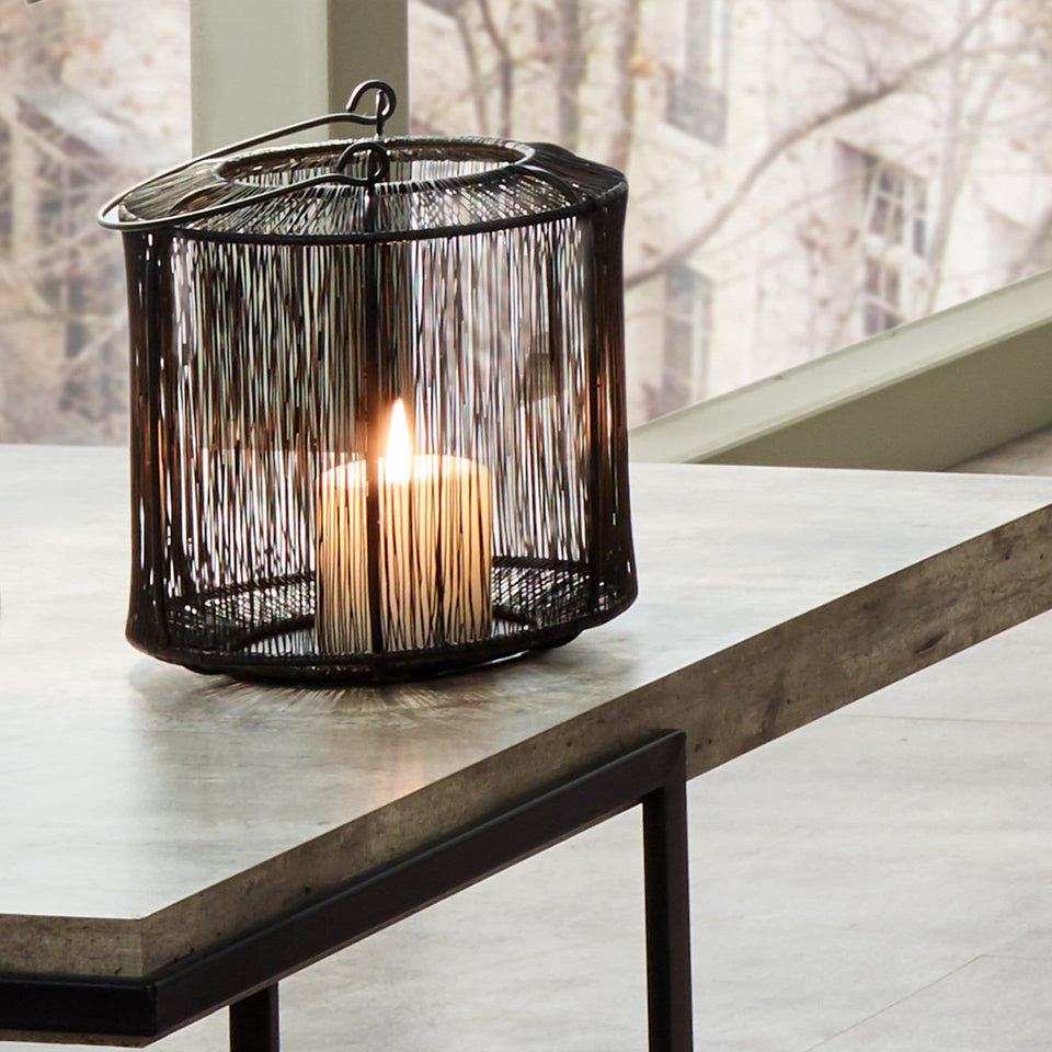 Amina Matt Black Mesh Metal Round Lantern Small