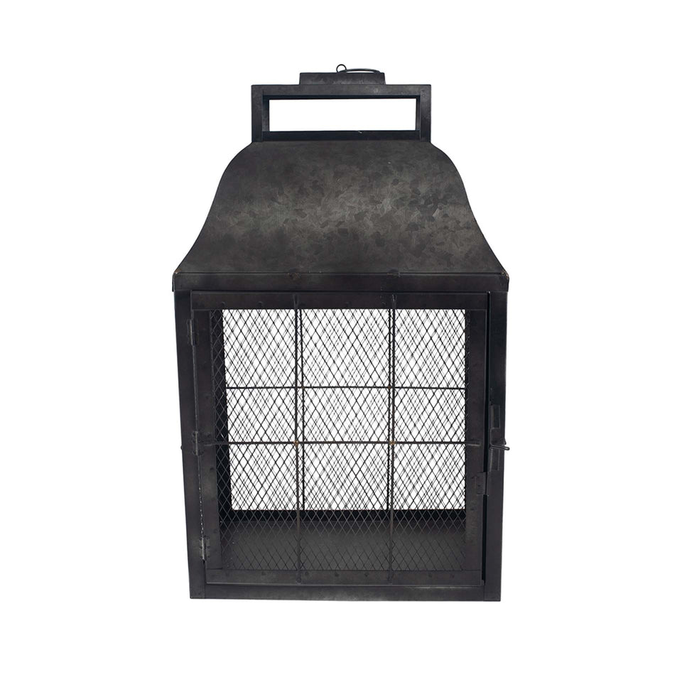 Lassen Dark Grey Galvanised Metal Oblong Lantern Large