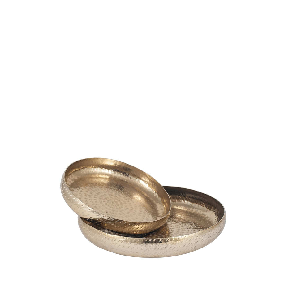 Gabrielle S/2 Gold Hammered Metal Bowls